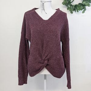 Olive & Oak Front Knot Sweater Size M